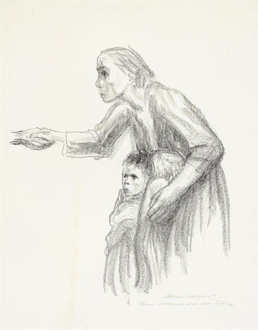 Kathe Kollwitz-Frau Vertraut Sich Dem Tode An, from Death-1934