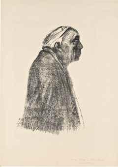 Kathe Kollwitz-Selbstbildnis im Profil nach rechts-1938