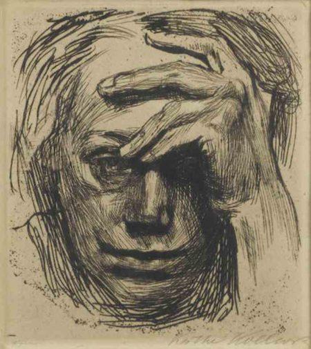 Kathe Kollwitz-Selbstildnis mit der Hand and der Stirn-1910