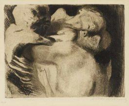 Kathe Kollwitz-Tod und Frau um das Kind Ringend-1911