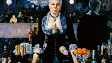 Kathleen Gilje - Linda Nochlin in Manet's Bar at the Folies-Begère, 2005, historian college, Linda Nochlin died after a museum show of her work at Vassar Museum of Arts in New York