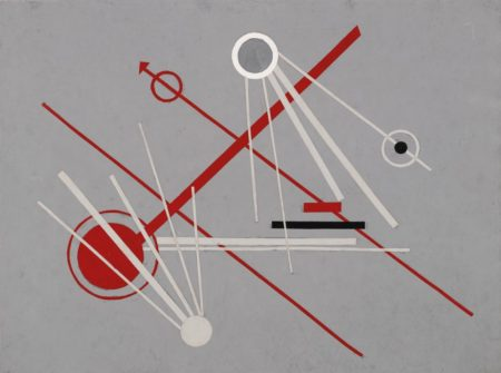 Kathleen Guthrie-Red And White Construction On Grey-