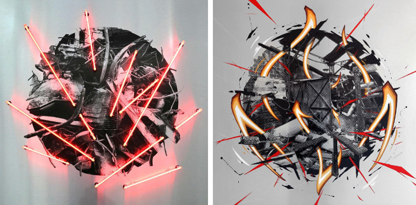 Katre - K-cercle Serie Neon, 2016 (Left) - T-cercle, 2016 (Right)