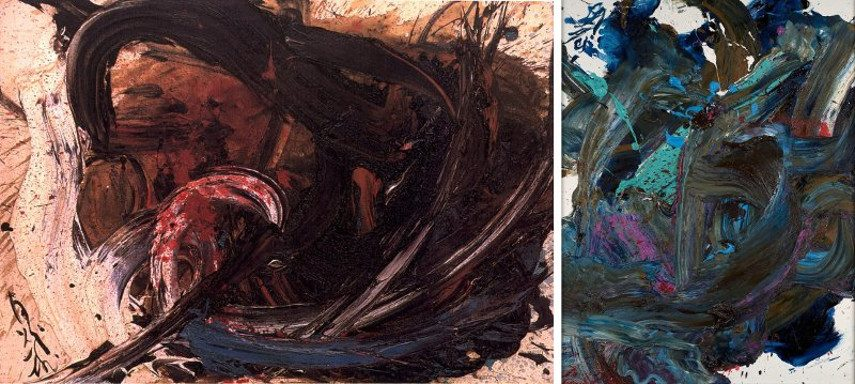 Kazuo Shiraga – BB64, 1962 (Left) ---- Ton, 1999 (Right) - Images via wikiartorg gallery and davidsartofthedaycom