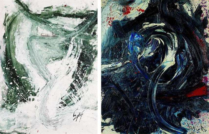 Kazuo Shiraga – Itazura Ni, 1960 (Left) ---- Chisuisei Tetpihaku Works, 1962 (Right) - Images via wikiartorg gallery