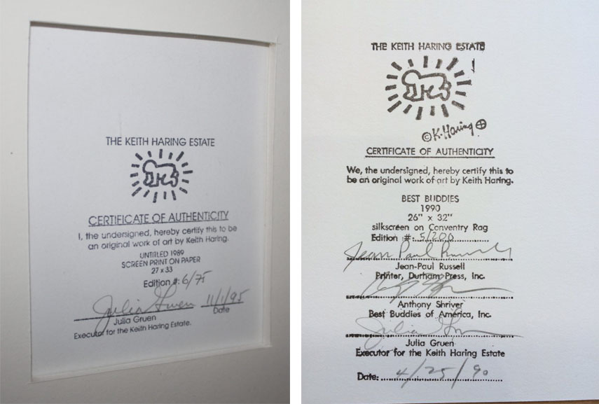 Everything you need to know about the certificate of authenticity examples of coas of artworks by keith haring images via artplease and artspace yadclub