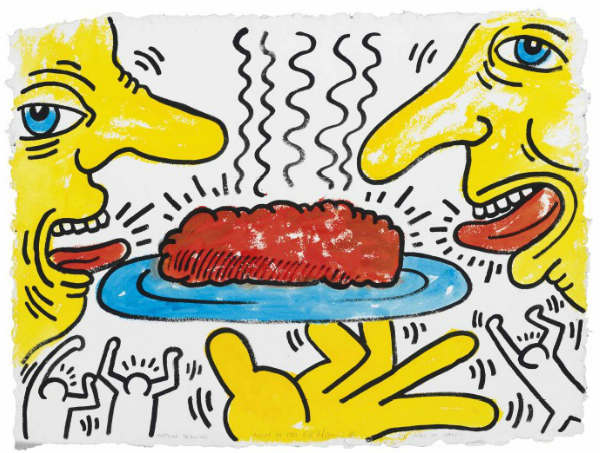 Keith Haring-Keith Haring - Meatloaf Drawing for Meals on Wheels-1987