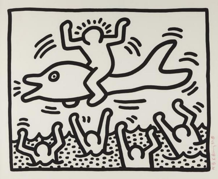 Keith Haring-Keith Haring - Untitled (Man on Dolphin)-1987