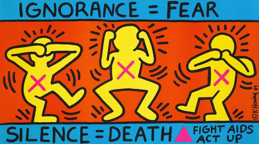 Keith Haring - Ignorance = Fear / Silence = Death, 1989
