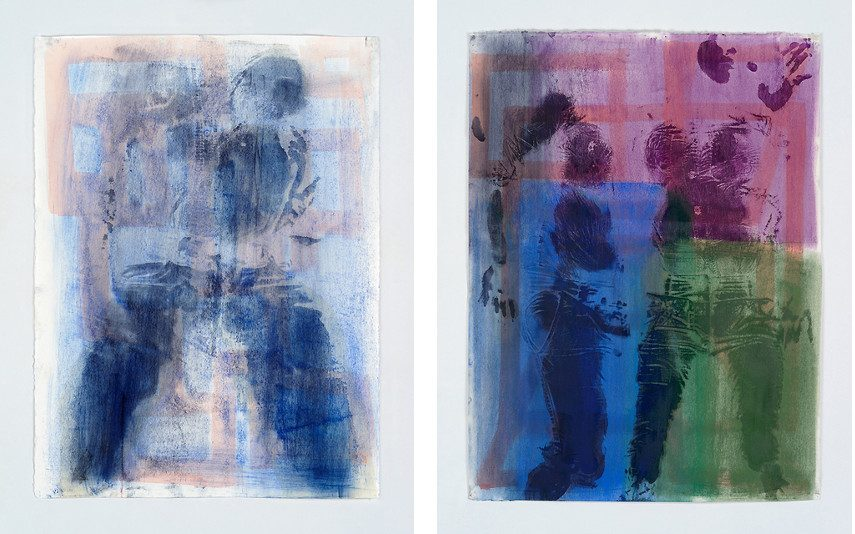 Keltie Ferris - Blueprint, 2015 (Left) --- Sidestep, 2015 (Right) - Of all the New York oil works, the work of Keltie Ferris's canvas looks the most like Mitchell-Innes nash body work