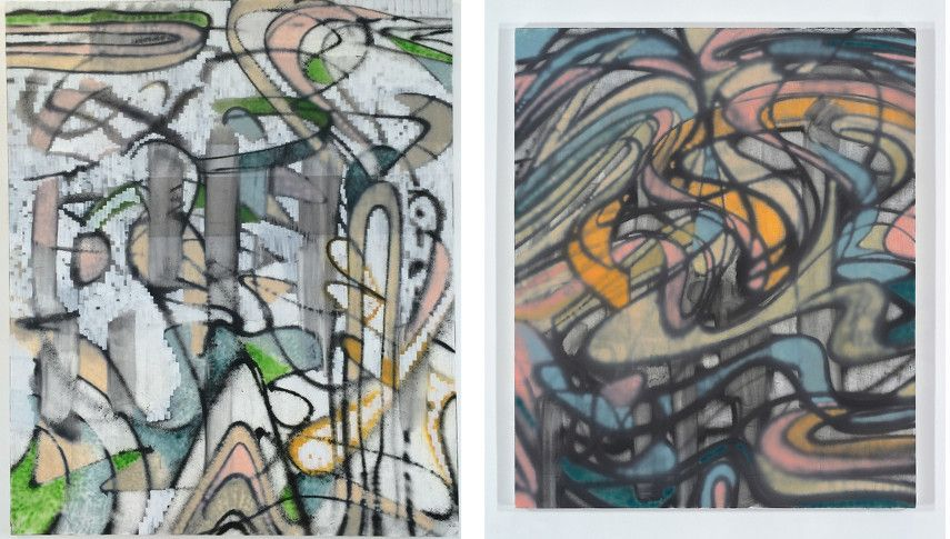 Keltie Ferris - [to be titled], 2016 (Left) --- ((BedStuy)), 2016 (Right) - Of all the New York oil works, the work of Keltie Ferris's canvas looks the most like Mitchell-Innes nash body work