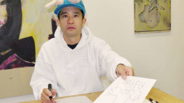 Ken Kagami Drawing Genitals at Frieze Art Fair, Courtesy of Ken Kagami