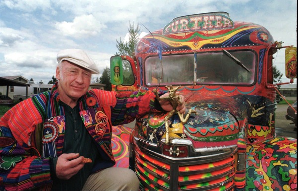 Ken Kesey posing in front of the legendary bus names Further, which was an inspiration por William Monk 's exhibition Furthur Planetarium! 2013