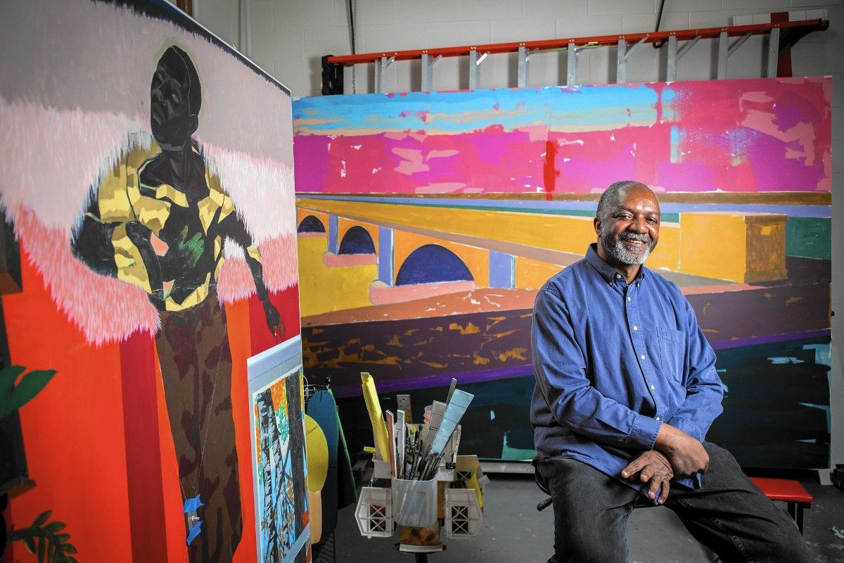 Kerry James Marshall, Photo of the artist - Kerry James Marshall loved to work in Los Angeles as, if he did his painting there, all works started to look like a long view to home, Search view of a painting works if you have a home in Los Angeles