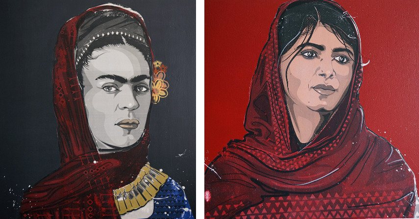 Kestin Cornwall - La Casa Azul - A Portrait of Frida Kahlo, 2016 (left), Regnat Populus - A Portrait of Malala Yousafzai, 2016 (right)