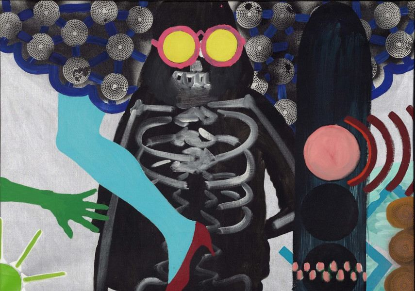 Kiki Kogelnik painted this piece called Death With Sunglasses in 1963, after which her name was on everyone's lips and she became a hit of the international art scene