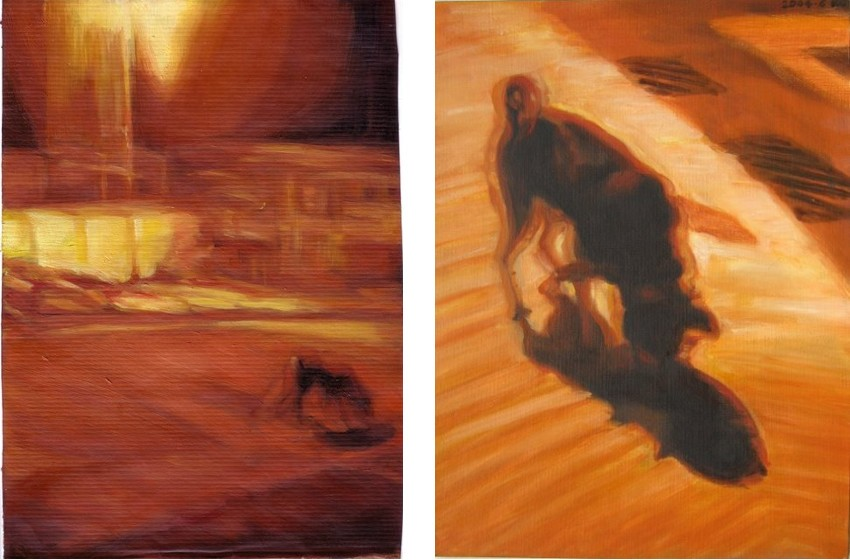 Night Walk II, oil on paper (Left) / Night Walk III, oil on canvas board (Right)