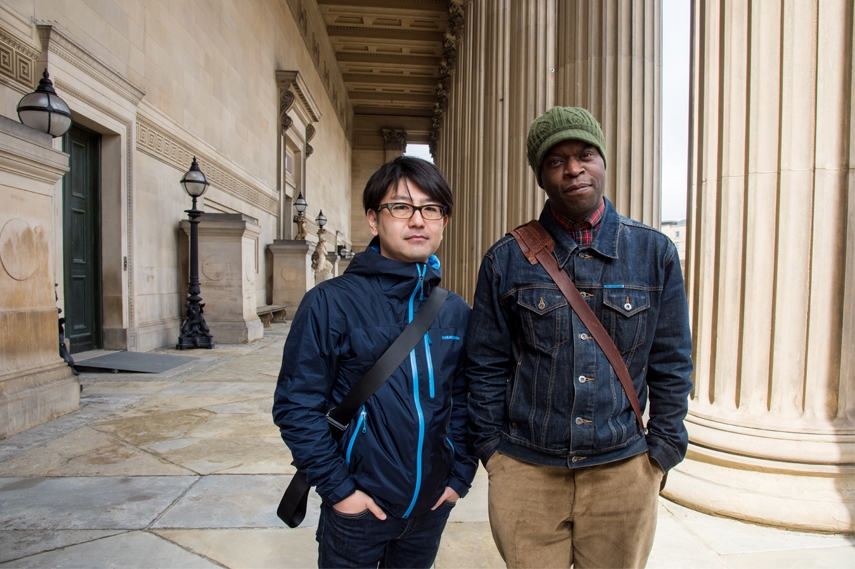 Koki Tanaka with Emeka Onuora- original participant of the Youth Training Scheme Protest in Liverpool – Photo- Mark McNulty - Courtesy of Liverpool Biennial