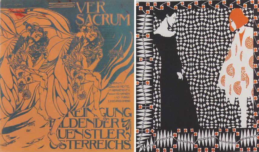 Koloman Moser - Tanzende Mädchen, 1898 (Left) - Vorfrühling 1, 1900 (Right) new works edit book austrian kolo ver sacrum 1897 koloman