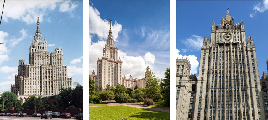 Kudrinskaya Square Building (Left) ----Moscow State University (Center) ---- Ministry of Foreign Affairs (Right) - Images via wikipediaorg