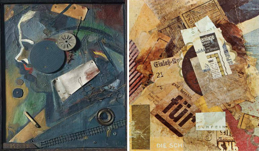 Kurt Schwitters - The Merz Barn, 1919, photo via dadart.com (Left) - Merz 94, 1920, photo via pinterest.com (Right) 1923 hanover german works collection 1918 exhibition collages