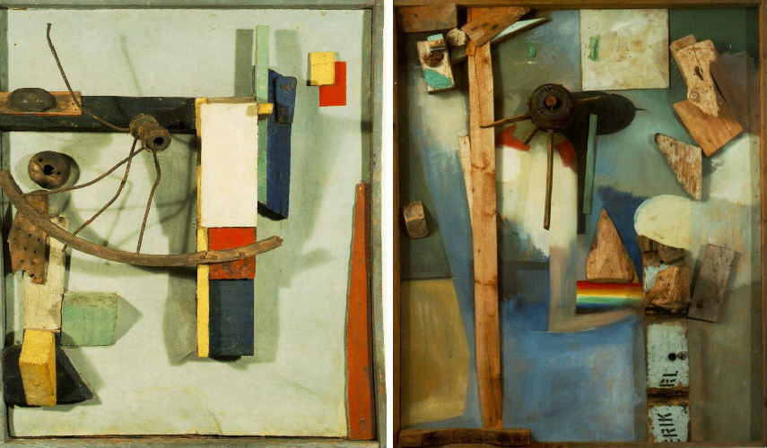 Kurt Schwitters - Untitled, photo via pinterest.com(Left) - Untitled, 1939, photo via escapeintolife.com (Right)