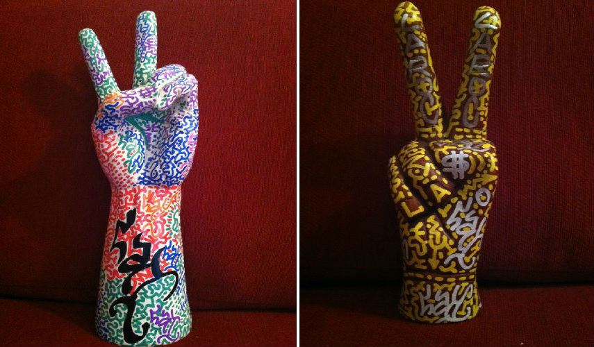 LA II - Peace sign purple (left) - Peace sign wood (right)