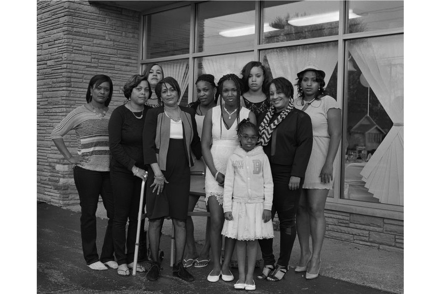 Shea with her mother, daughter, aunts and cousins; (left to right; Marcell, Kristina, Lynda, Denise, Andrea, Nephratiti, Keona, Zion, Renee, Shea) at the wedding reception outside the Social Network Banquet Hall, 2016 / 2017