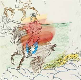 Larry Rivers-Sketch for 'Chinese Information' Red Male Rider-1980