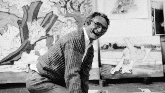 Larry Rivers in His Studio, 1985, painting drawing, pop art