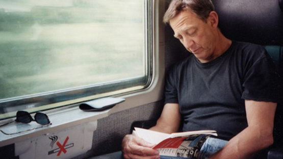 Larry Sultan on the train, photo by Kelly Sultan
