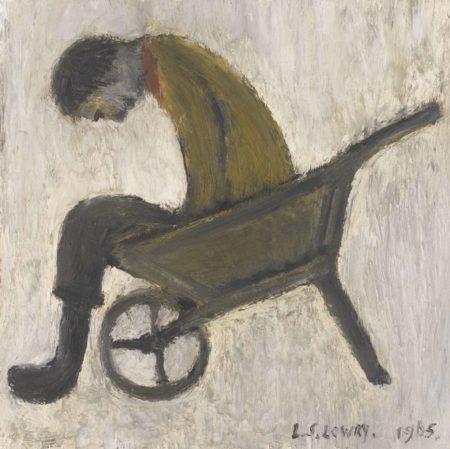 Laurence Stephen Lowry-Man Sitting In A Wheelbarrow-1965