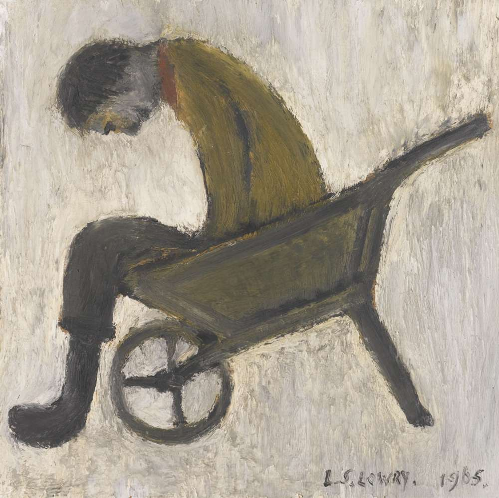 Laurence Stephen Lowry-Man Sitting In A Wheelbarrow-1965