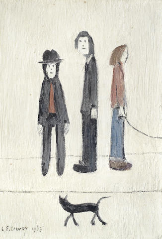 Laurence Stephen Lowry-Three Men and a Cat-