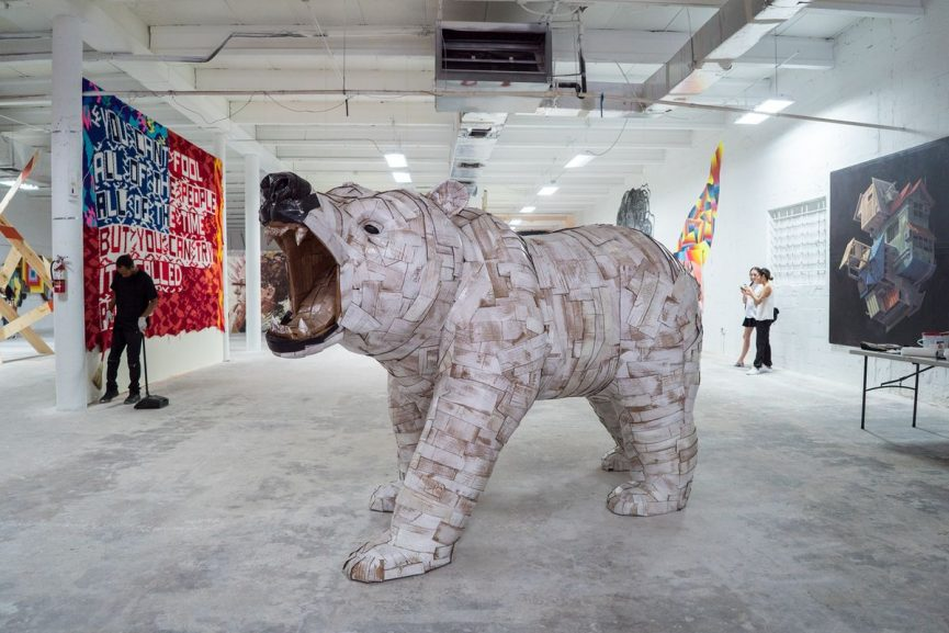 Laurence Vallieres - Cardboard Sculpture at Juxtapoz Clubhouse Art Basel 2016