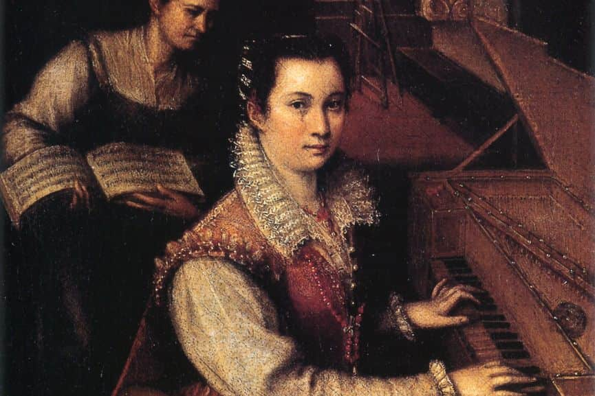 Lavinia Fontana - Self-Portrait at the Clavichord with a Servant (detail), c. 1577; her family was involved in arts and painting