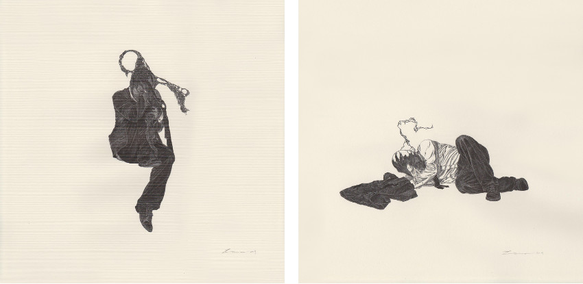 Law Ka Nam, Bosco - Exhibition #001, 2014, Ink on paper (Left) / Exhibition #001, 2014, Ink on paper (Right)