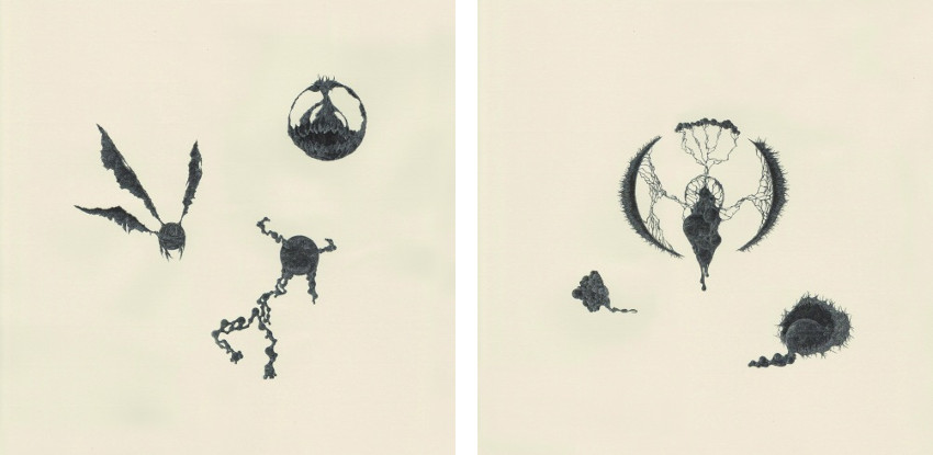 Random Images #006 (Left) / Random Images #007 (Right) - drawings - studio - ink on paper