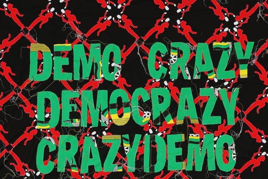Lawrence Lemaoana - Demo Crazy, Embroidery on Kanga, 2017