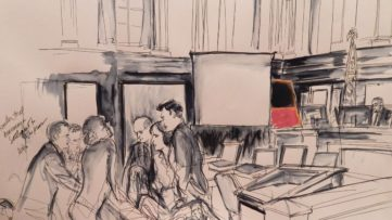 Lawyers and the press with the Rothko painting after the de Soles' New York trial was settled against michael hammer, rosales and the rest