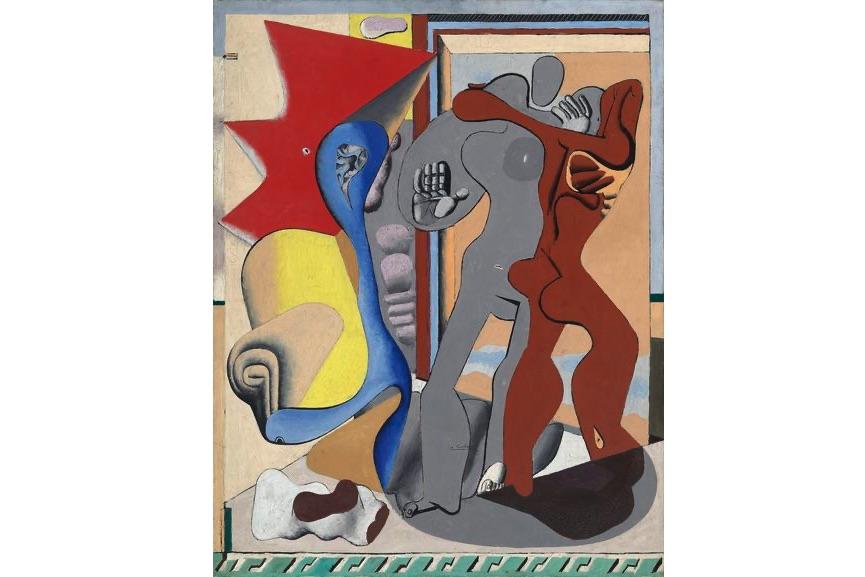 Le Corbusier - Femme grise, homme rouge et os devant une porte