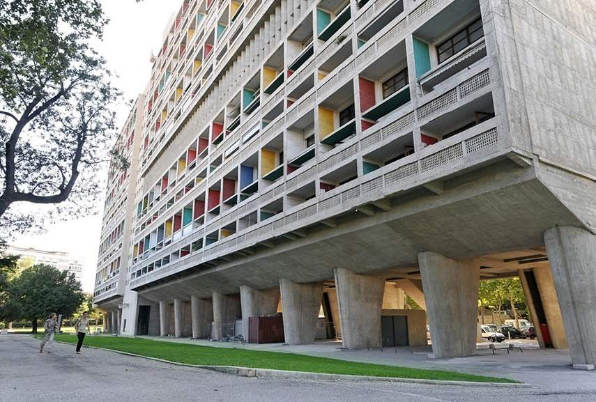 brutalist architecture house - housing project in France, city of Marseille. Library of architectural house history and famous brutalist buildings made in the 20th century. Marcel Breuer worked in city building design
