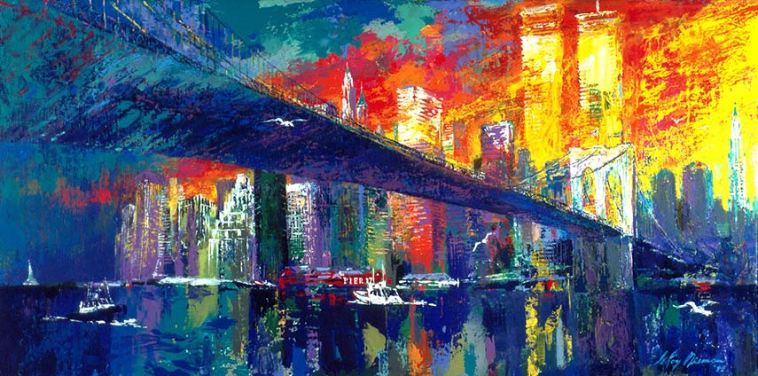 Leroy Neiman's depiction of world famous Brooklyn Bridge is full of intense red tones