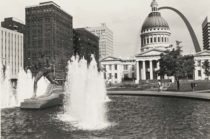 Lee Friedlander-Kiener Memorial Fountain And Runner Statue Gateway Mall St. Louis Missouri-1972