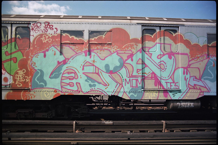 Lee Quinones' wild style on a subway car, 1977