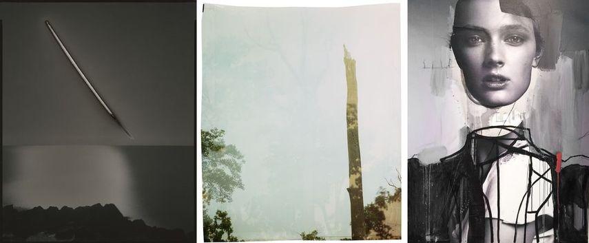 Left © Chris McCaw, Sunburned GSP #668 (San Francisco Bay), 2013, Courtesy the artist and Haines Gallery, San Francisco Center © John Chiara, Courtesy of ROSEGALLERY, Santa Monica Right