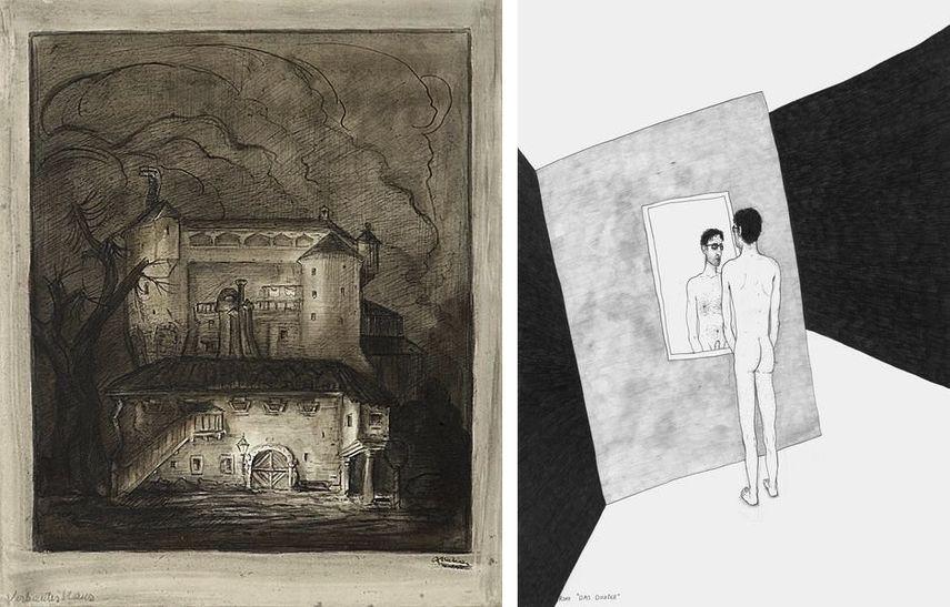 Alfred Kubin - Verbautes Haus, 1905 – 1910, Werner Reiterer - Das Double (from the series Die gezeichneten Ausstellungen), 2017