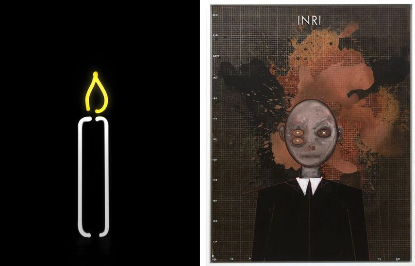 Gavin Turk - Argon Candle, 2013, Thomas Zipp - A.O.: INRI (The Measurement of Sensation), 2017