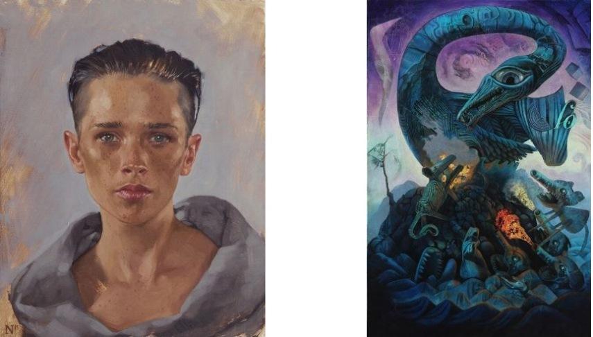 Left Aaron Nagel - Portrait Of Sara Right David Ball -Topple
