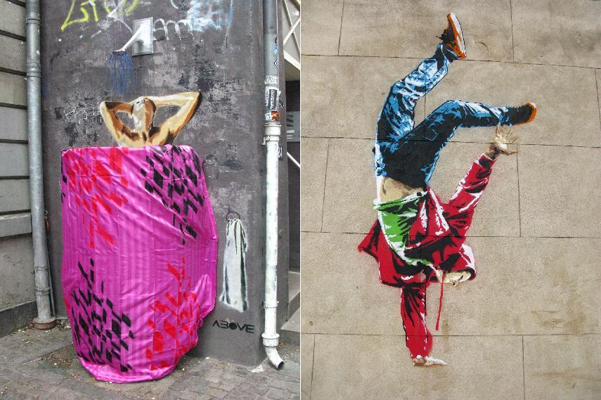 Left - Above - Naked. Shower head installation, Copenhagen, Denmark, June 2009 - Right - Above - Timing, London, England, September 2013